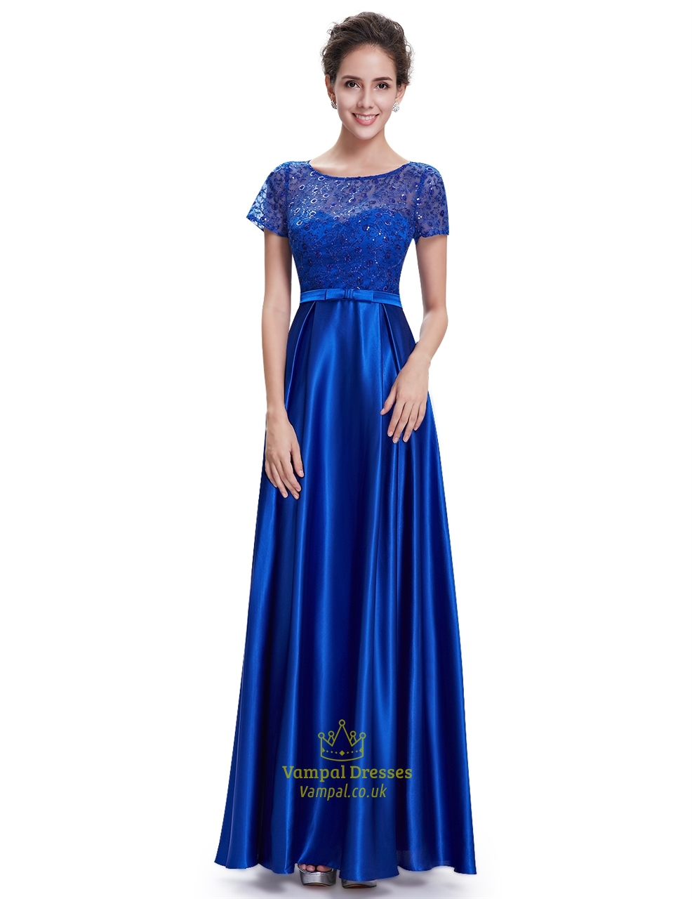 Royal blue short sleeve long bridesmaid dresses with lace for Blue long dress wedding