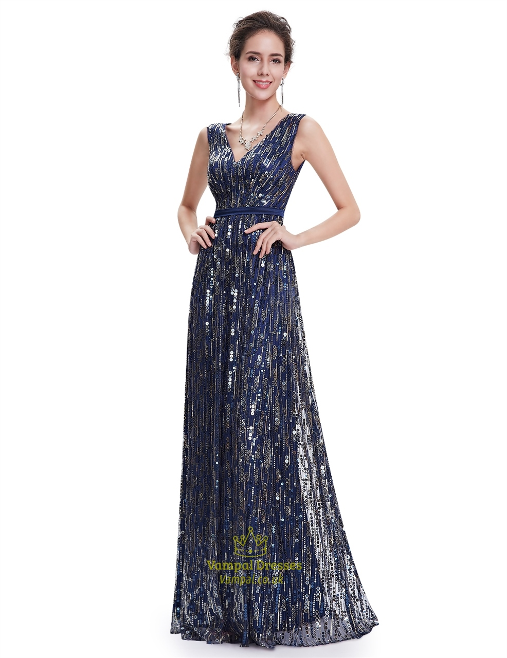 Elegant Navy Blue Floor Length Contrast V-Neck Sequin Prom ...