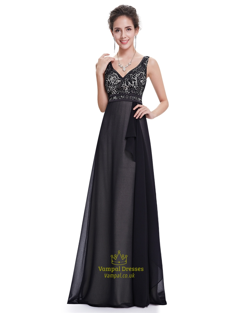 Black V Neck Lace Bodice Chiffon Bridesmaid Dress With Front Cascade ...