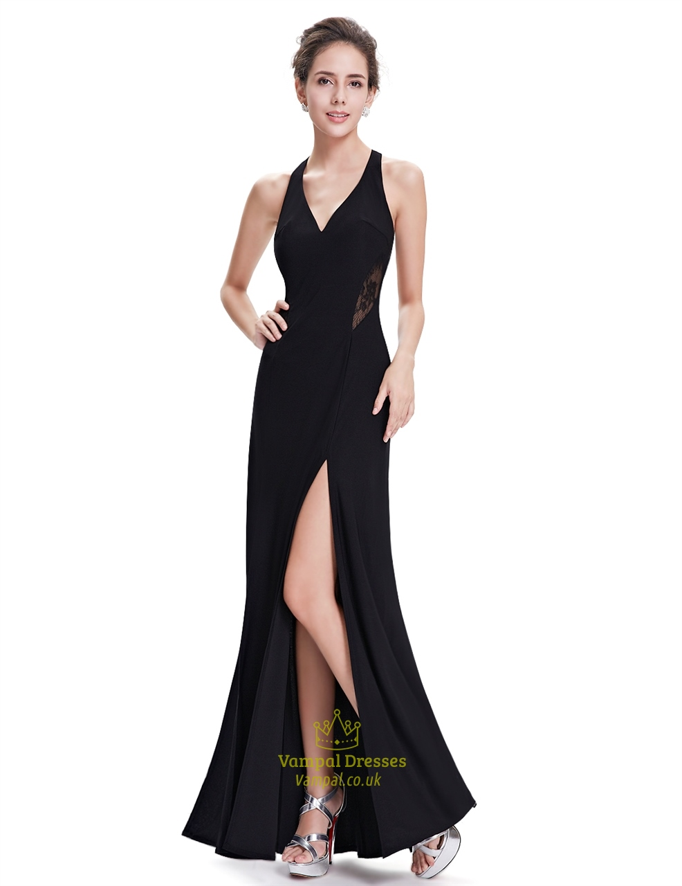 black chiffon split front open back long party dress with