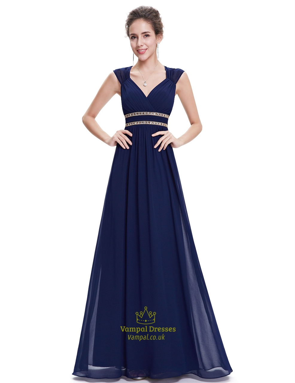 Navy blue chiffon bridesmaid dresses with cap sleeve and for Navy blue dresses for wedding