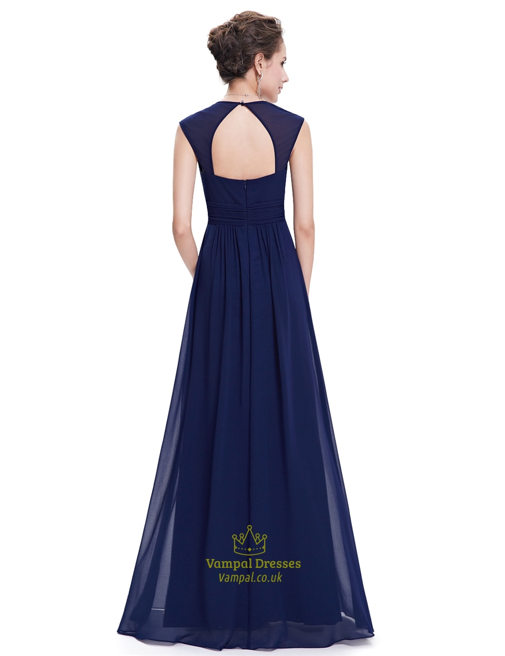 navy blue chiffon bridesmaid dresses with cap sleeve and