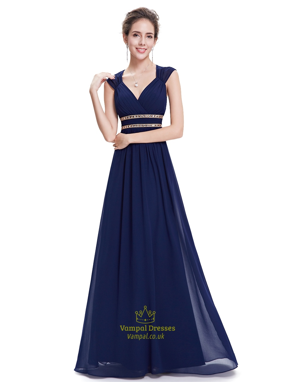 Navy Blue Bridesmaids Dresses With Sleeves : Navy blue chiffon bridesmaid dresses with cap sleeve and open back