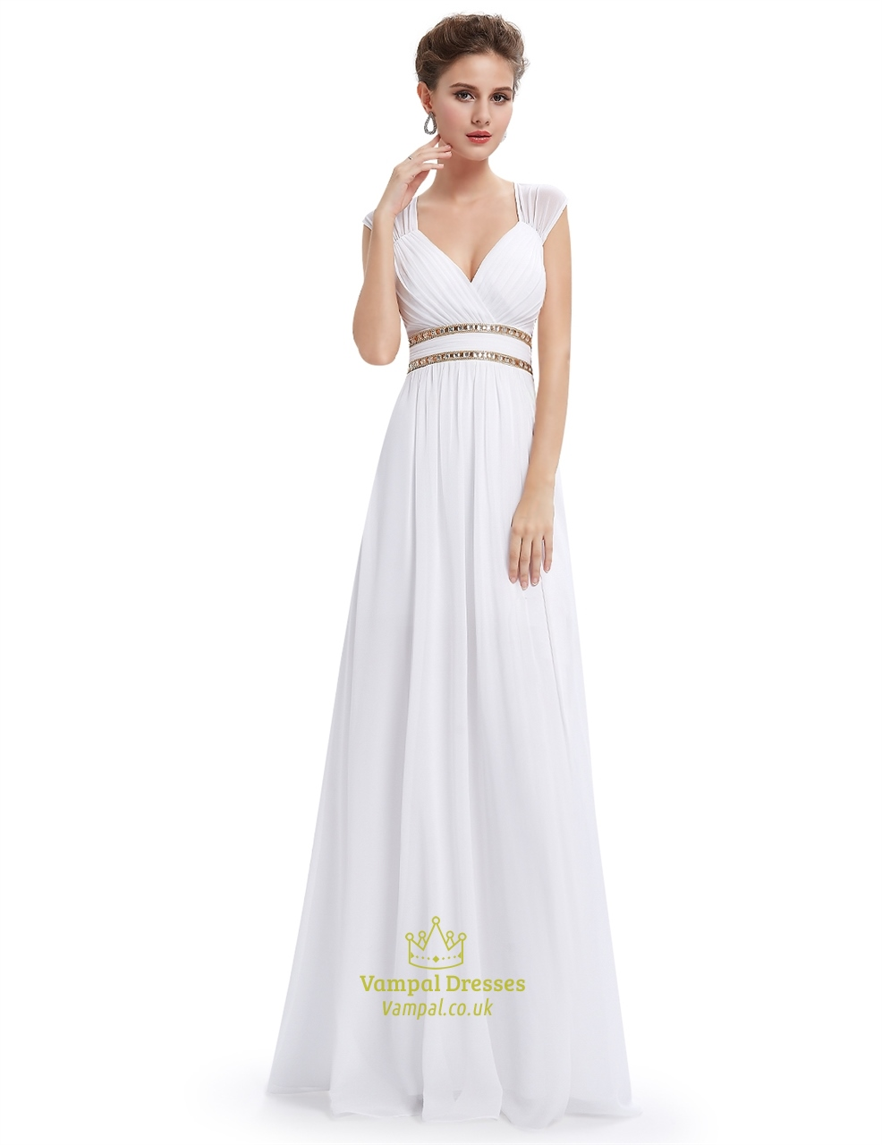 White chiffon bridesmaid dresses with cap sleeve and open for Wedding dress chiffon sleeves