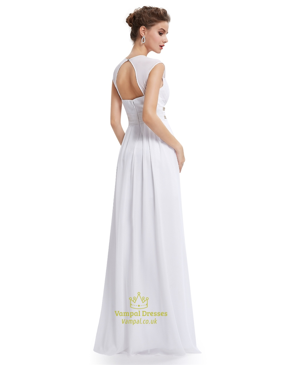 White chiffon bridesmaid dresses with cap sleeve and open for White chiffon wedding dress