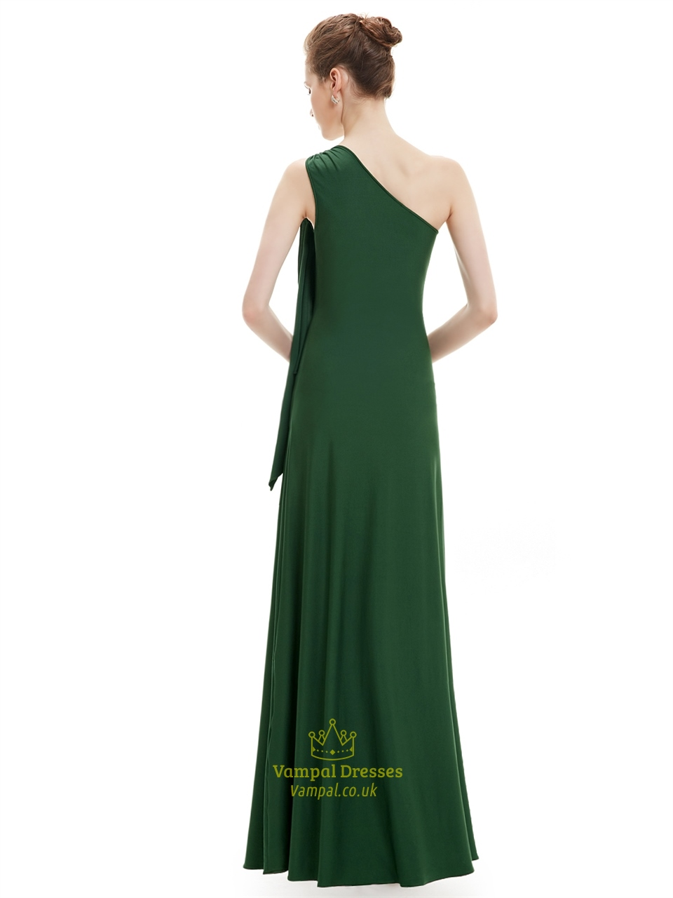 Emerald green sheath one shoulder bridesmaid dresses with for Emerald green dress for wedding