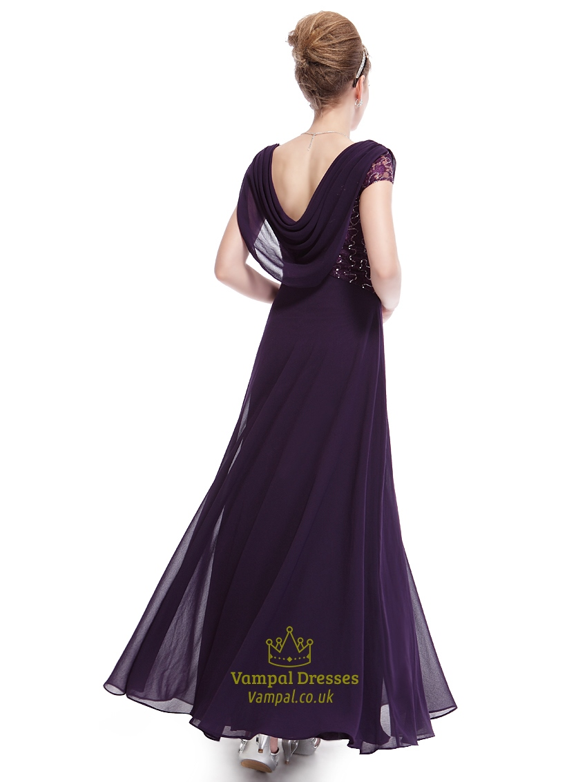 Purple Chiffon Cap Sleeves Cowl Back Prom Dress With Lace