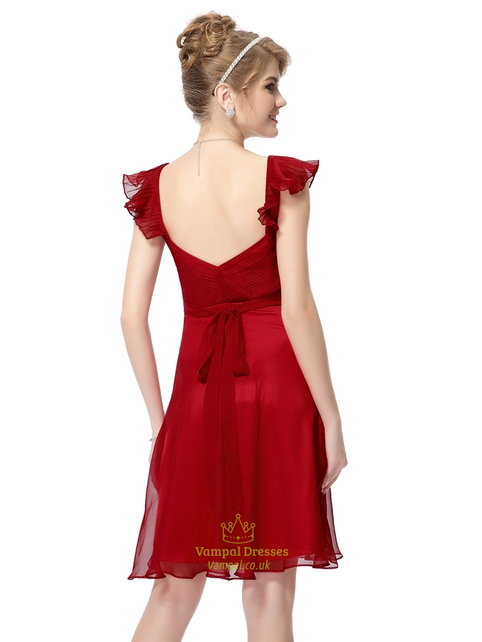 Red chiffon knee length bridesmaid dresses with flutter sleeves red chiffon knee length bridesmaid dresses with flutter sleeves ombrellifo Image collections