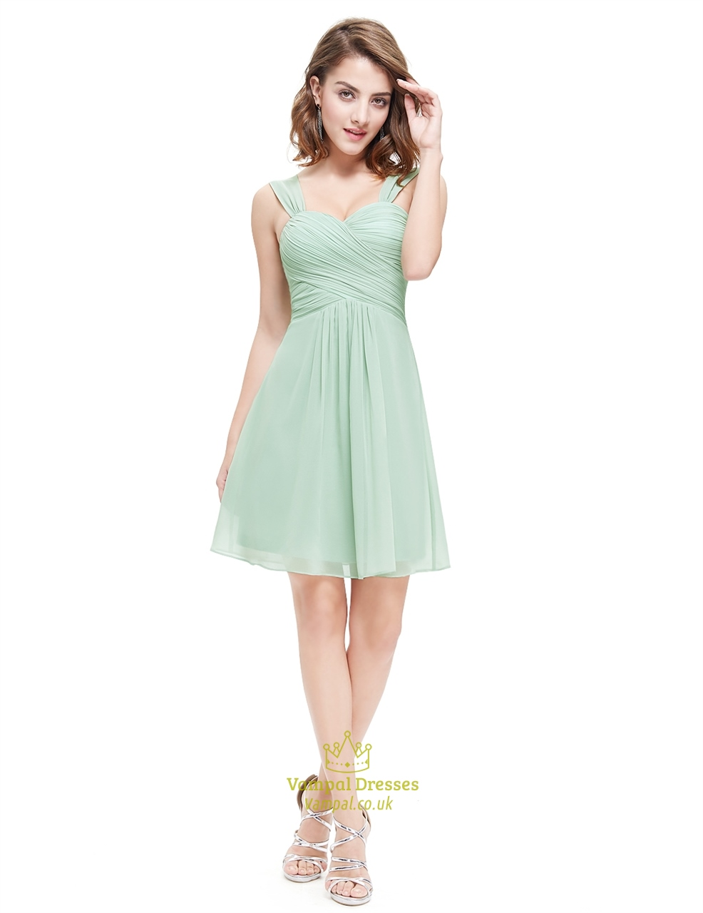 Sage Green Short Sweetheart Chiffon Bridesmaid Dress With