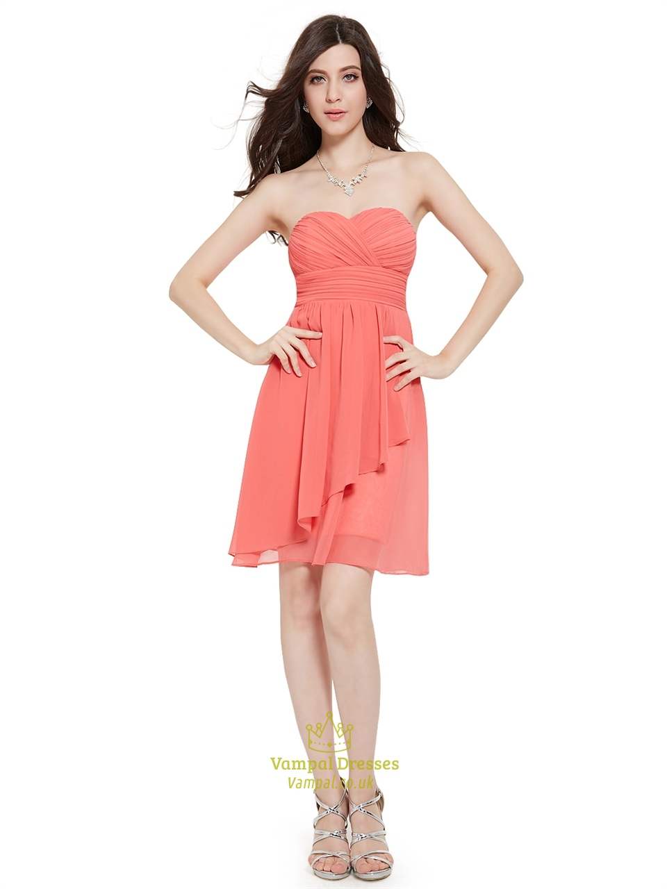 Light Pink Crinkle Chiffon Short Bridesmaid Dress With Front Cascade