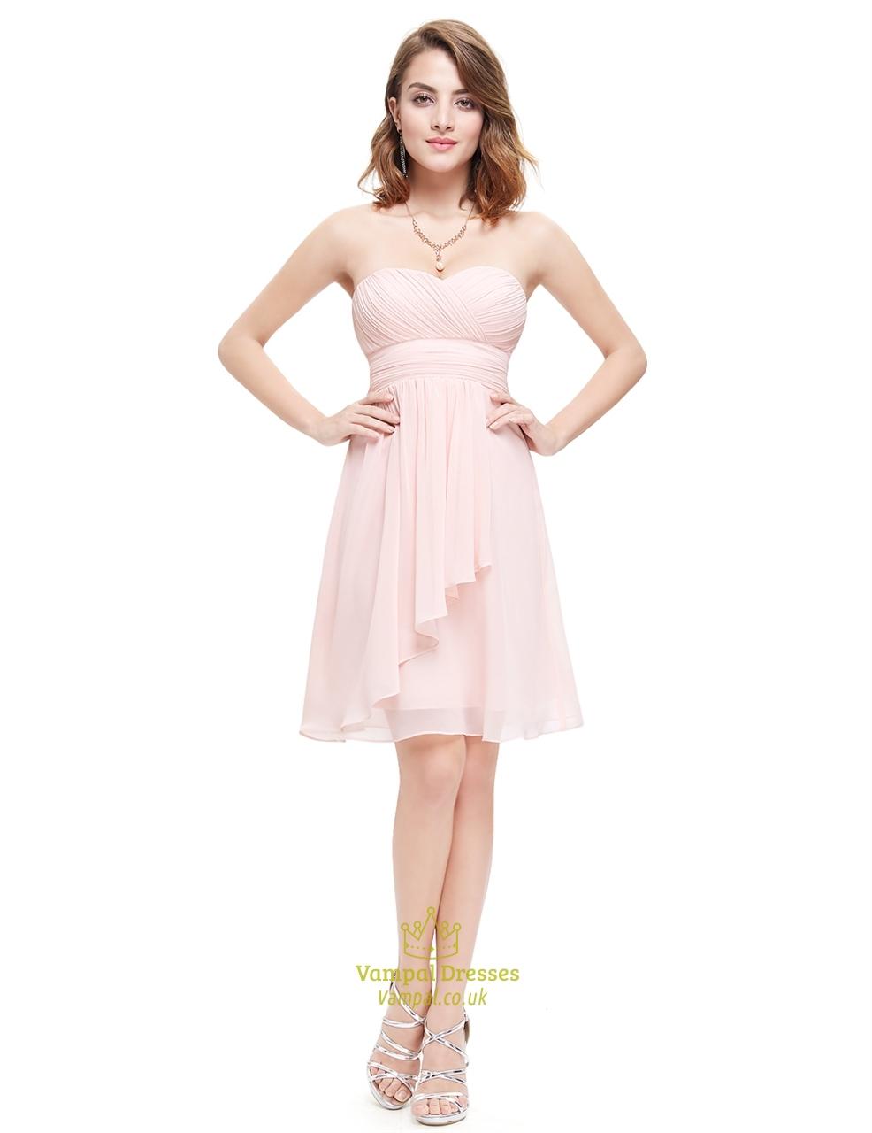 Light pink crinkle chiffon short bridesmaid dress with for Pink wedding dress short