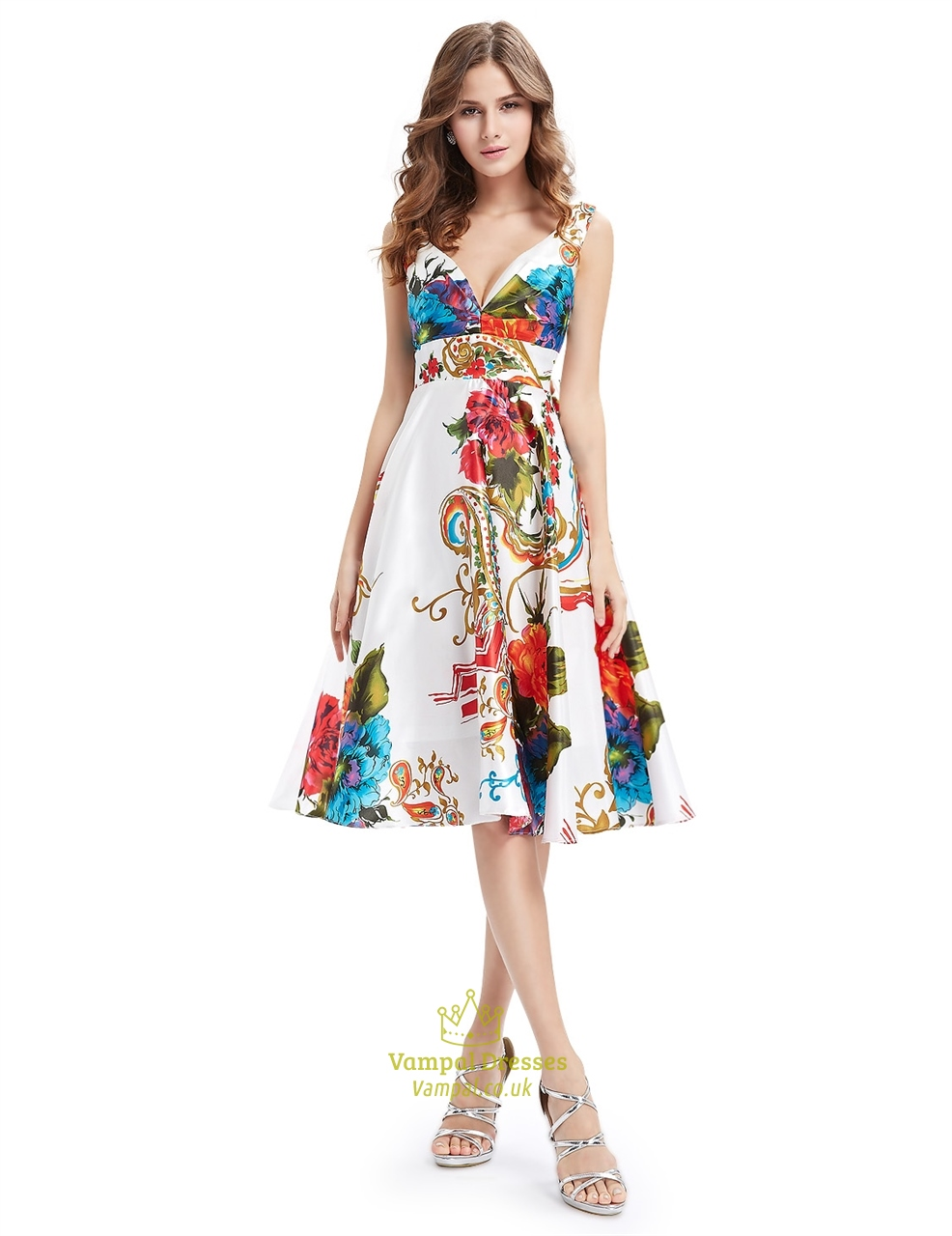 Floral Print Deep V Neck Summer Fit And Flare Skater Dress