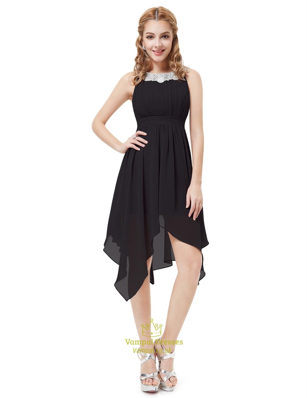 Black Chiffon Jewel Embellished Cocktail Dress | Vampal Dresses