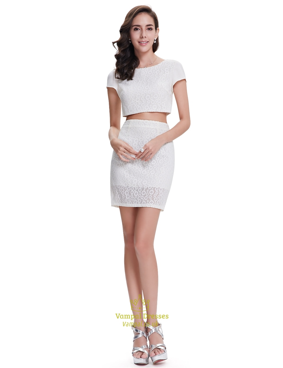 Cute White Lace Sheath Two Piece Cocktail Dress With Cap Sleeves ...