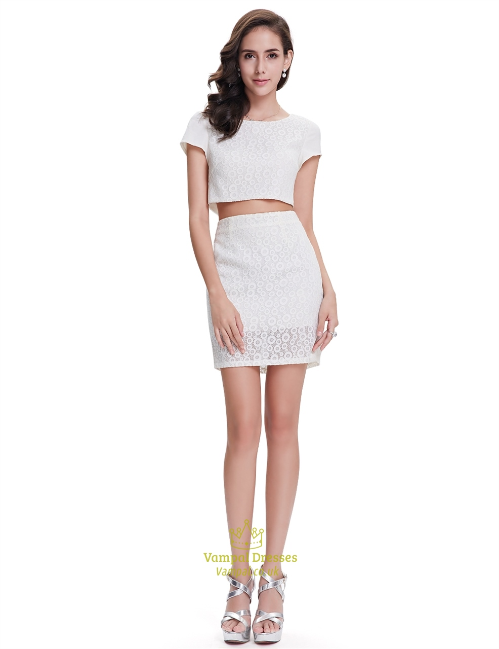 cute white lace sheath two piece cocktail dress with cap
