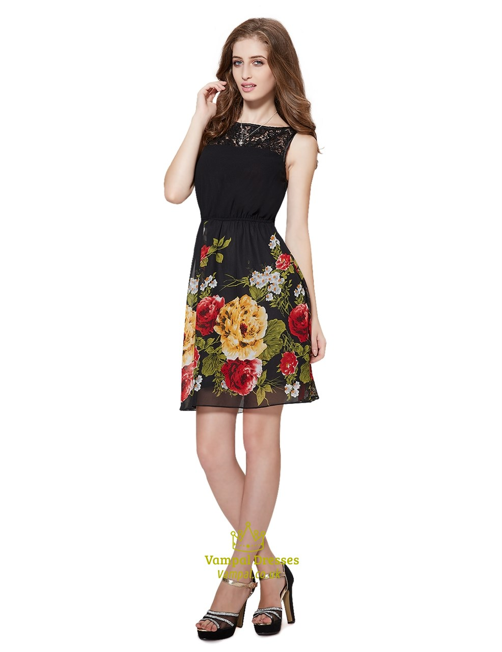 a8f9723a176c Black Floral Print Fit And Flare Skater Dress With Lace Top | Vampal ...