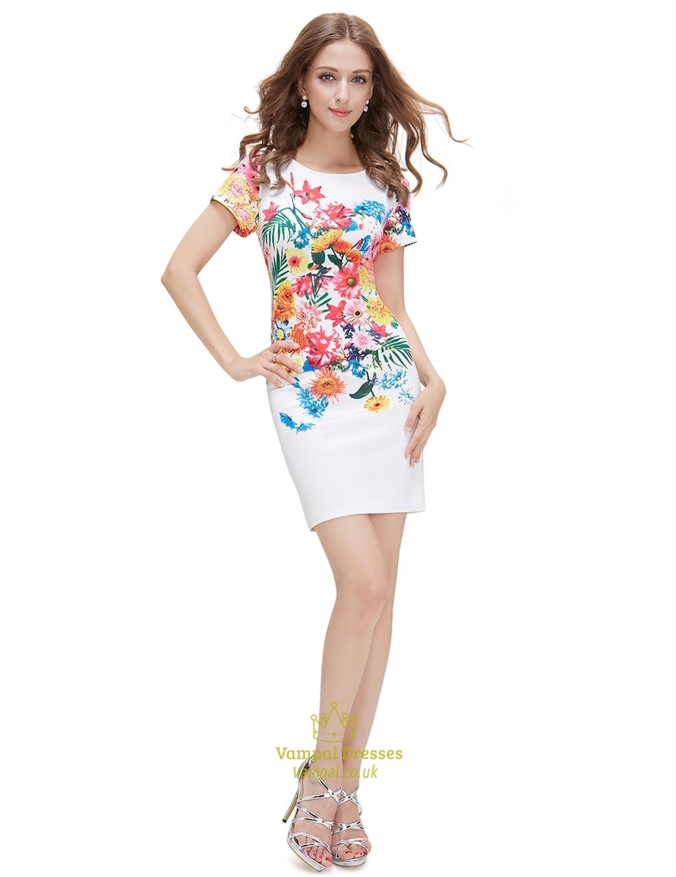 White floral print bodycon short summer dress with short sleeve white floral print bodycon short summer dress with short sleeve mightylinksfo