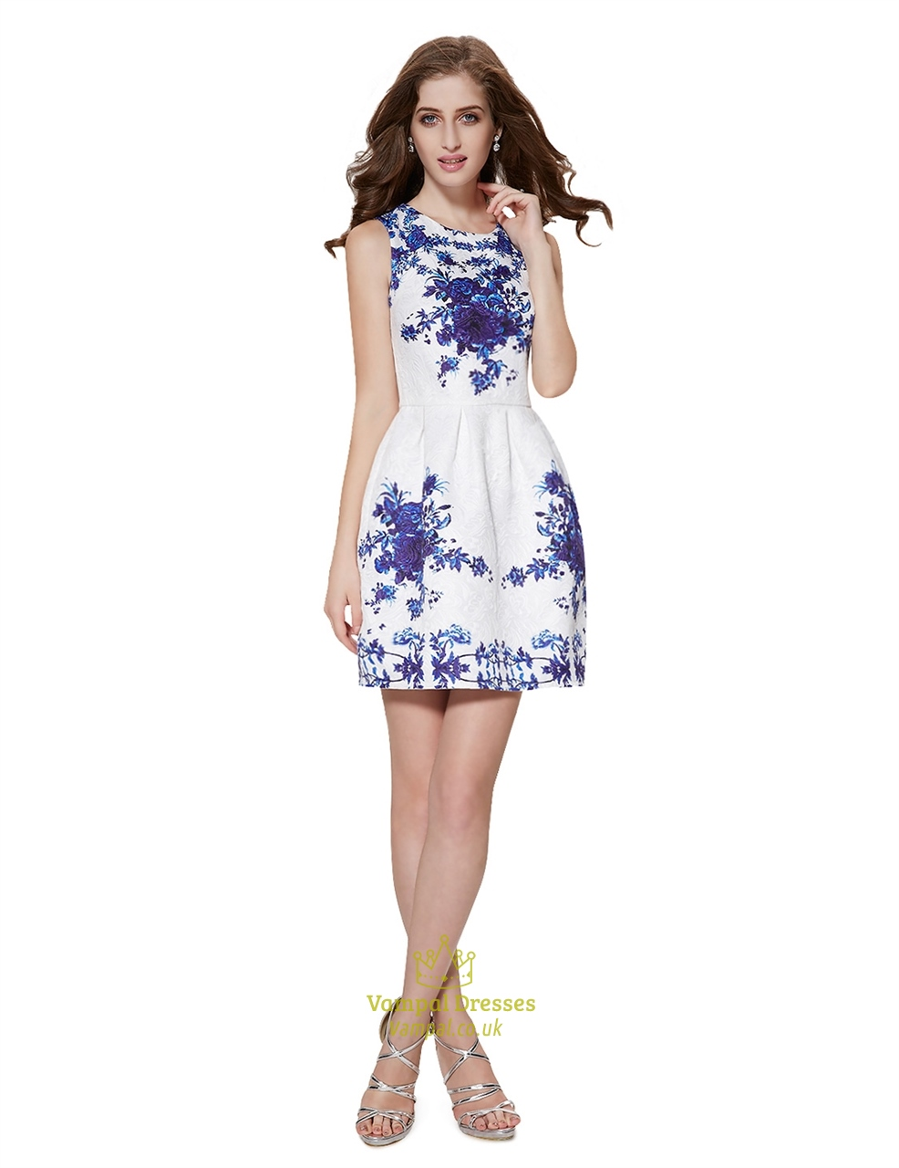 f9cb82faa635 White Sleeveless Fit And Flare Skater Dress With Blue Floral Print SKU  -NW1549