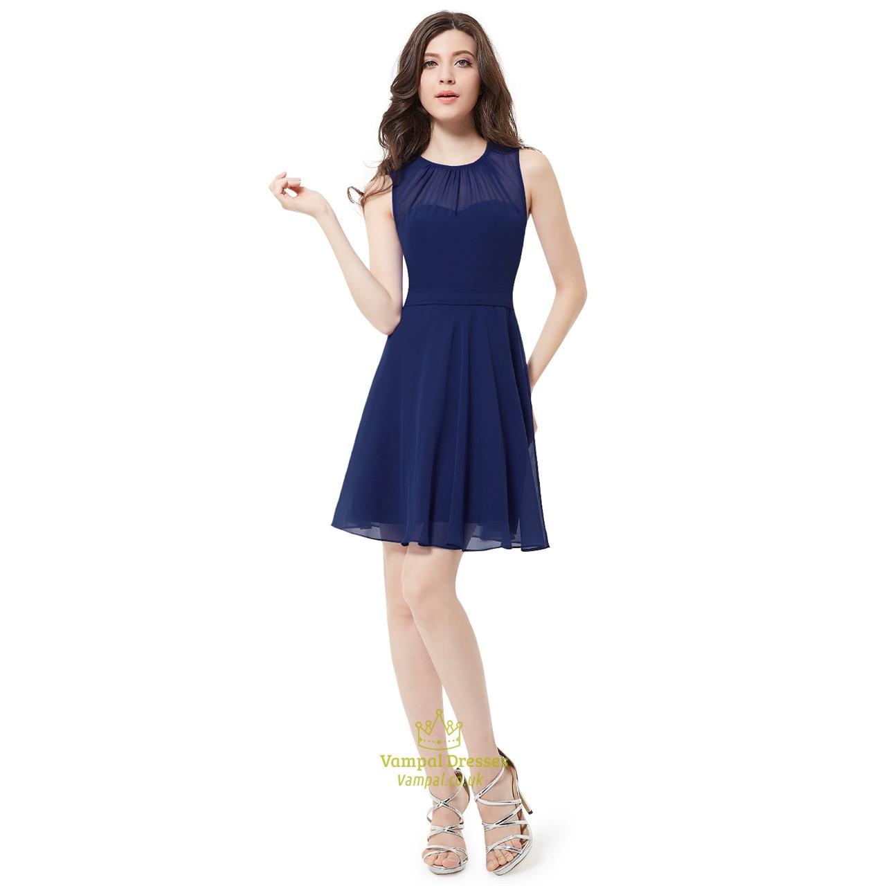 Elegant navy blue sleeveless short chiffon bridesmaid for Short flowing wedding dresses