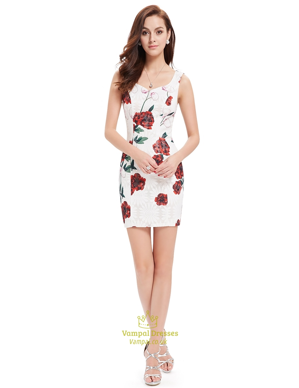 cute white short mini sheath summer dresses with red