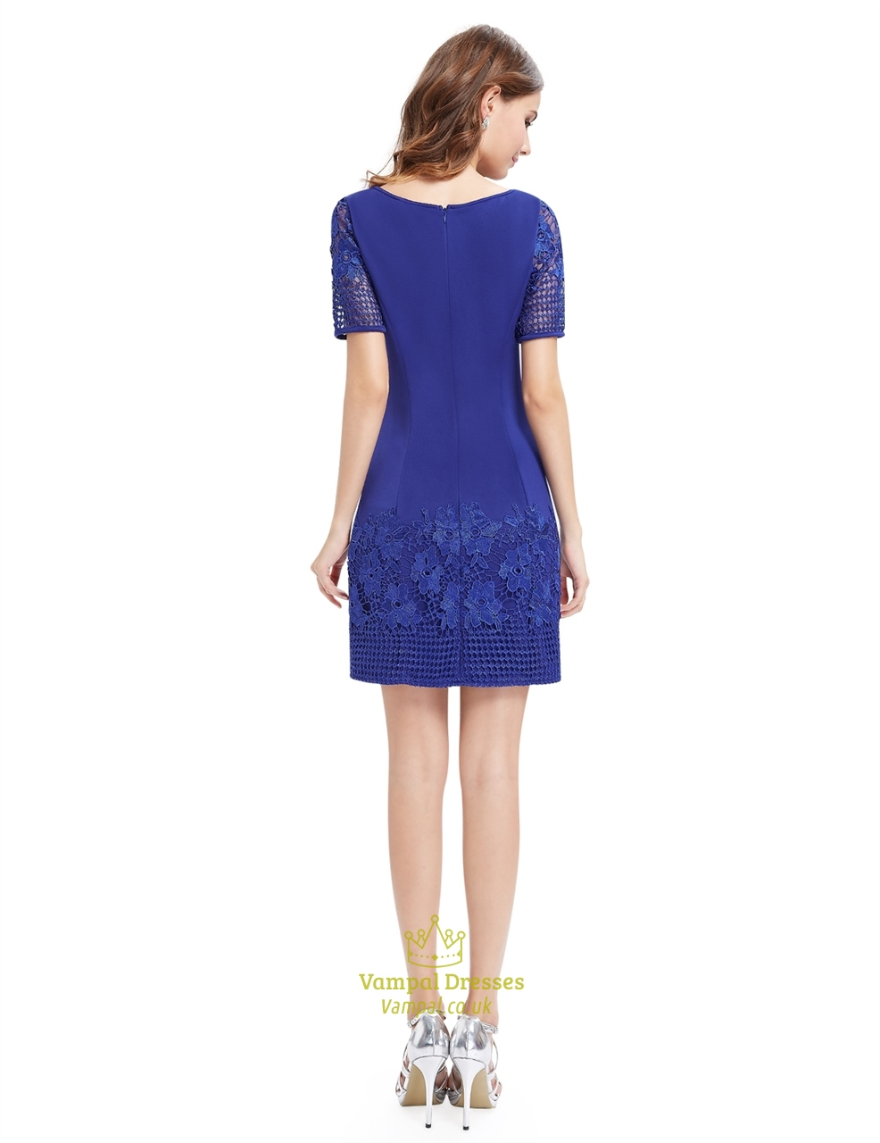 casual summer royal blue sheath dress with short sleeves