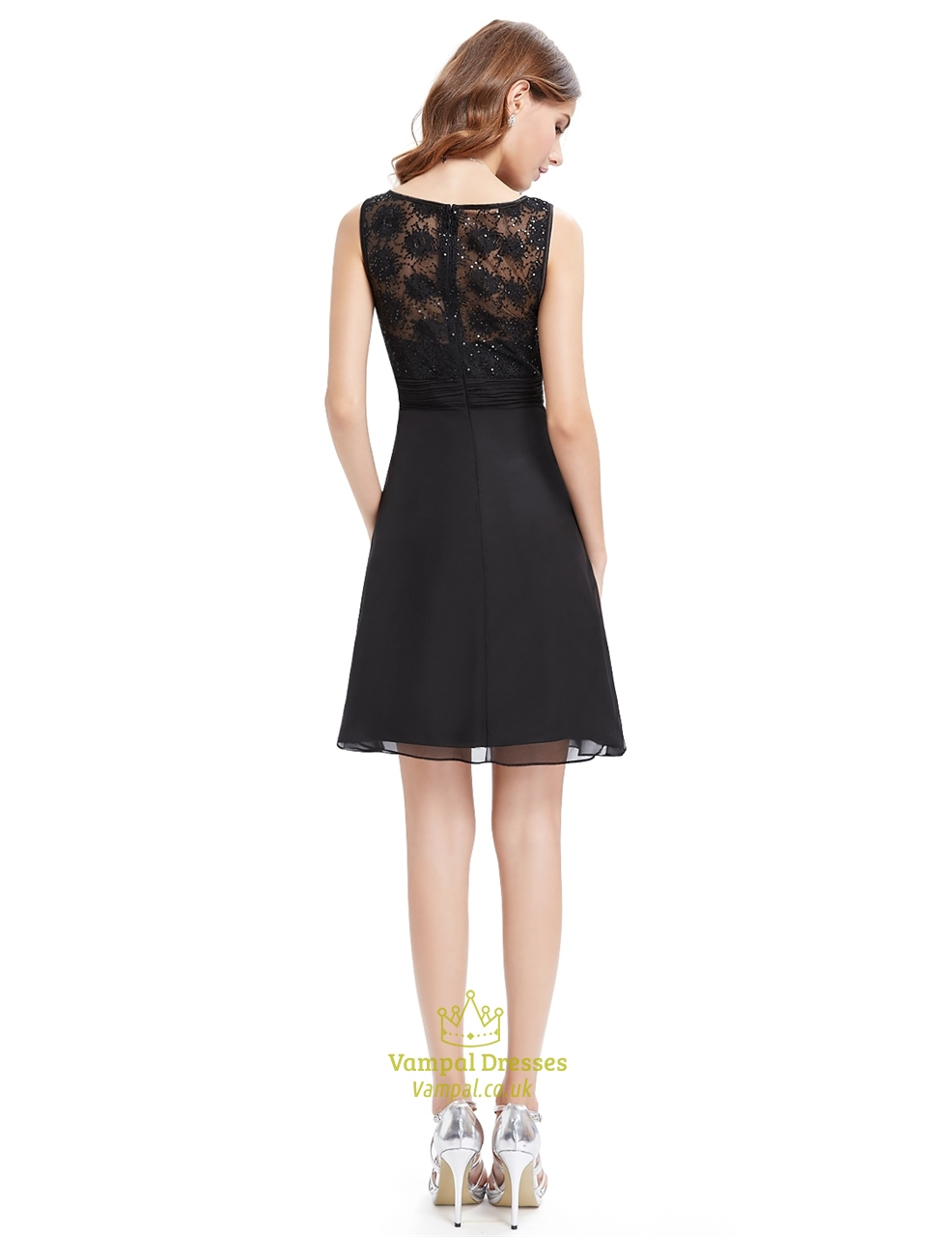 Black Lace Bodice Chiffon Cocktail Dresses With Beaded