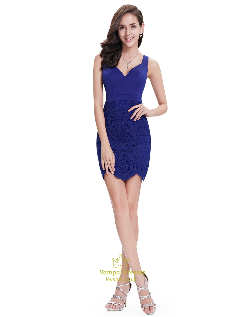 Elegant Royal Blue Short Sheath Lace Cocktail Dress With Straps ...
