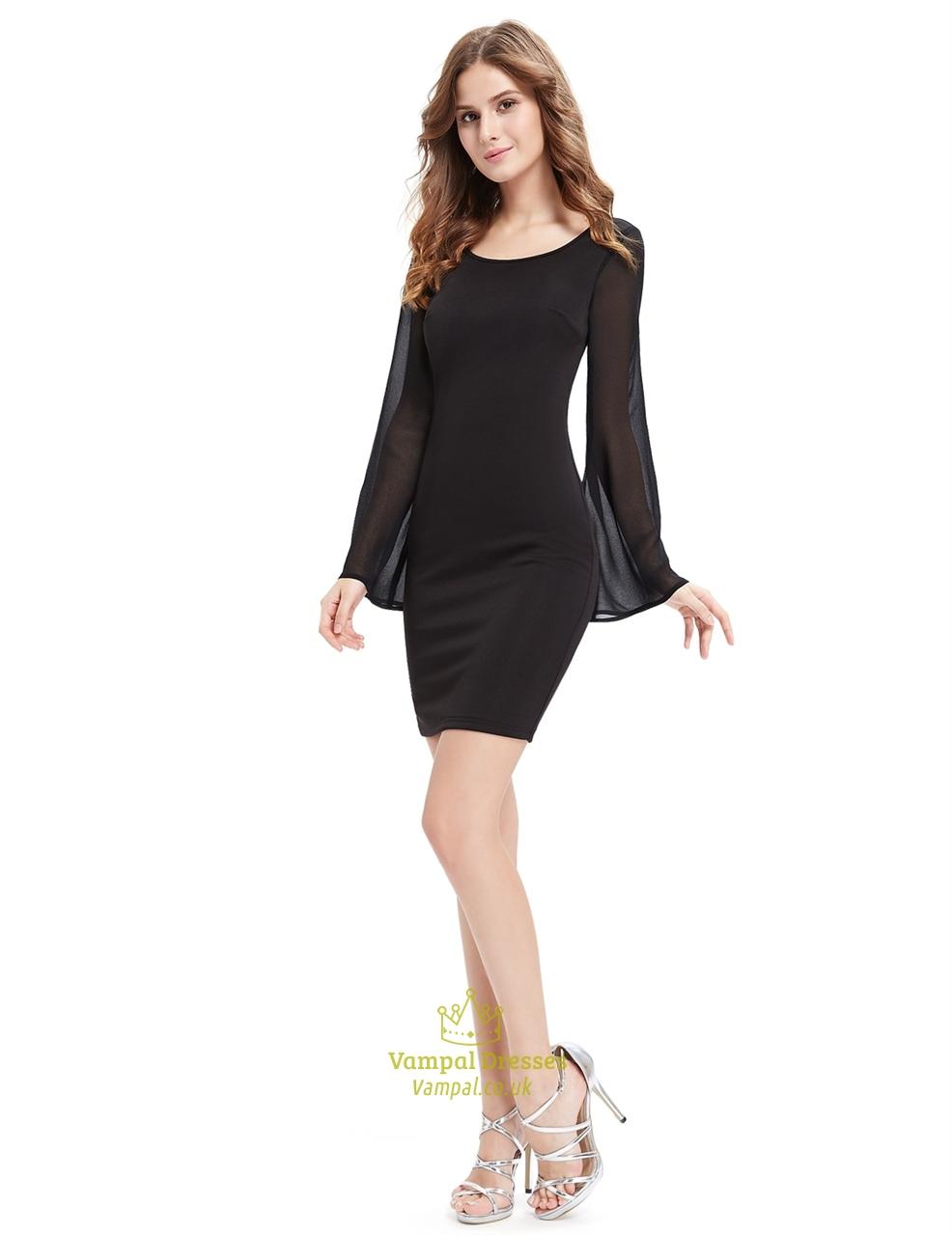 Black Short Sheath Cocktail Dresses With Bell Sleeve | Vampal Dresses