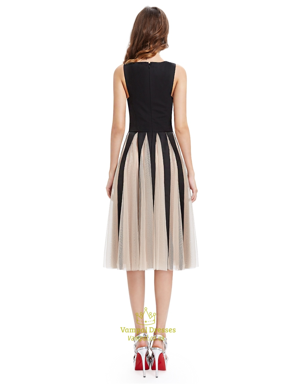 black and chagne midi length cocktail dress with tulle