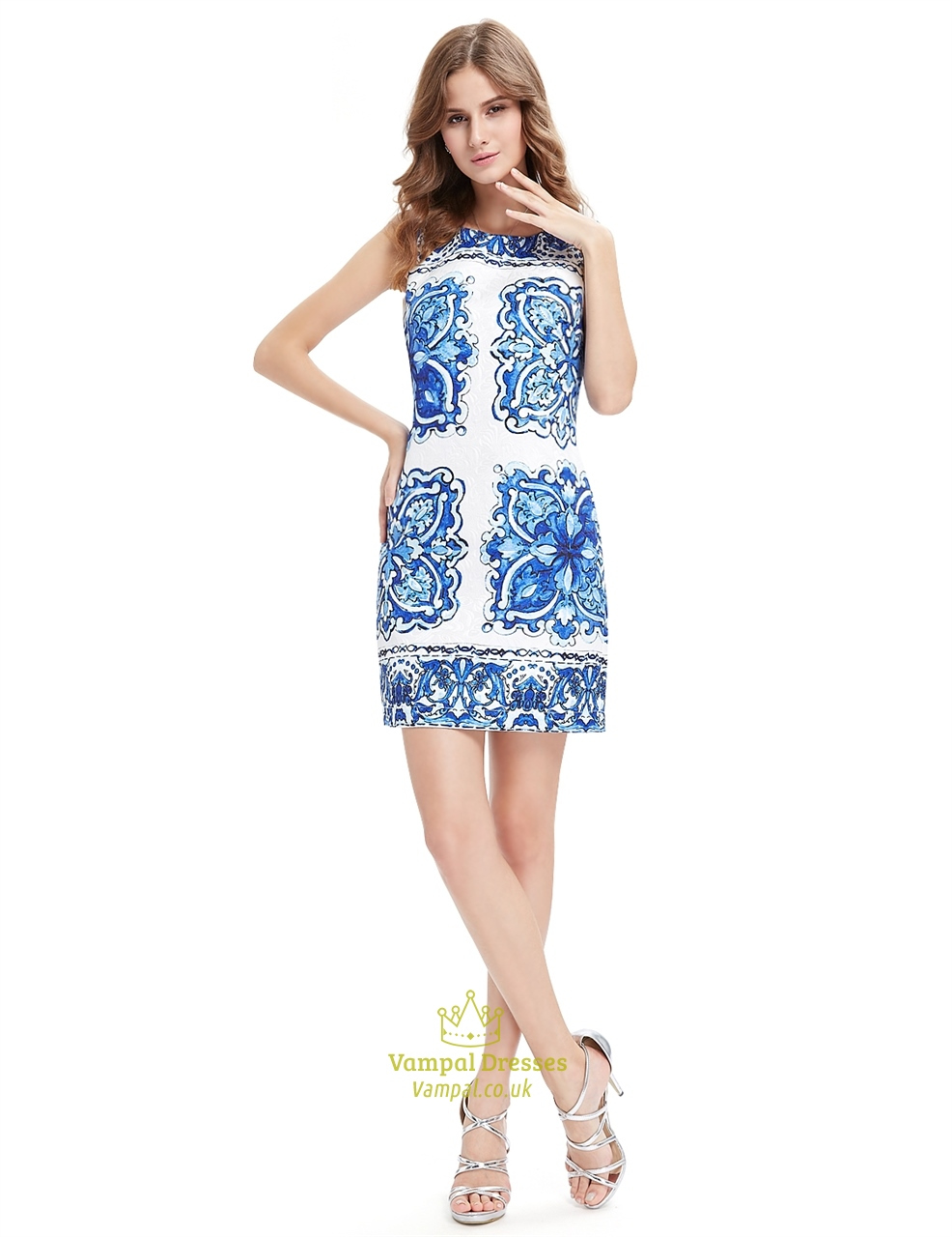 white short bodycon mini summer dress with blue floral