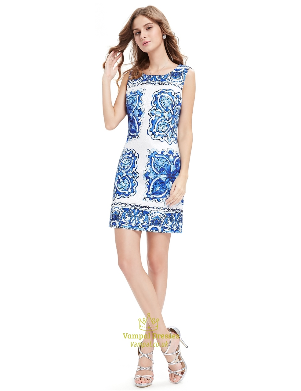 White Short Bodycon Mini Summer Dress With Blue Floral ...