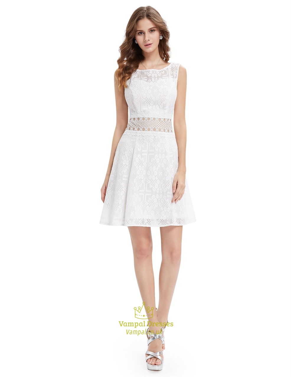 cute short white lace fit and flare dresses with sheer cut