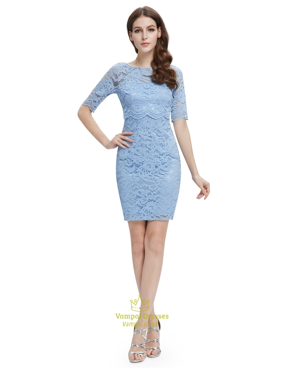 Light Blue Lace Sheath Cocktail Dress With Half Sleeves | Vampal Dresses