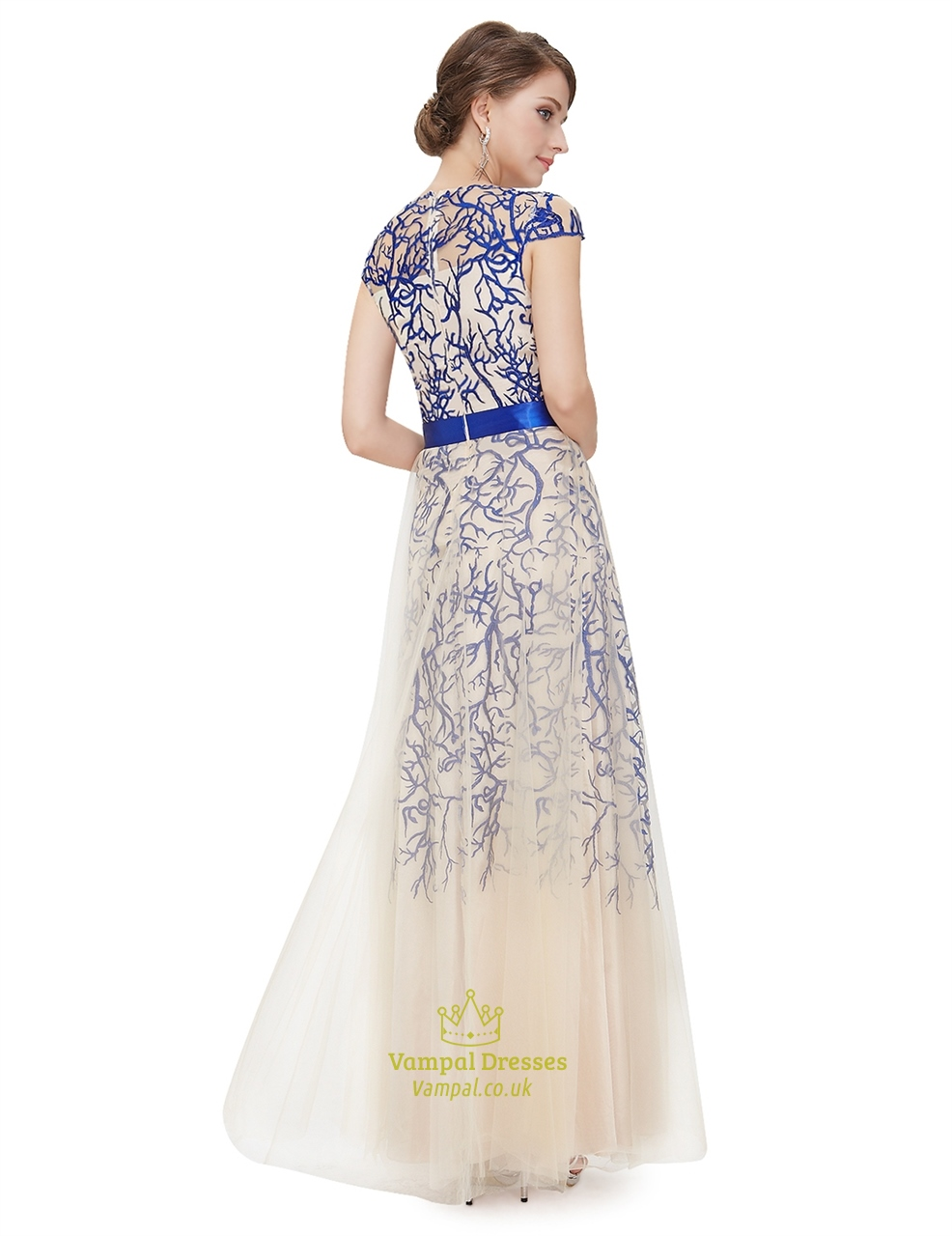 Champagne Cap Sleeves Tulle Prom Dress With Embroidered Flowers