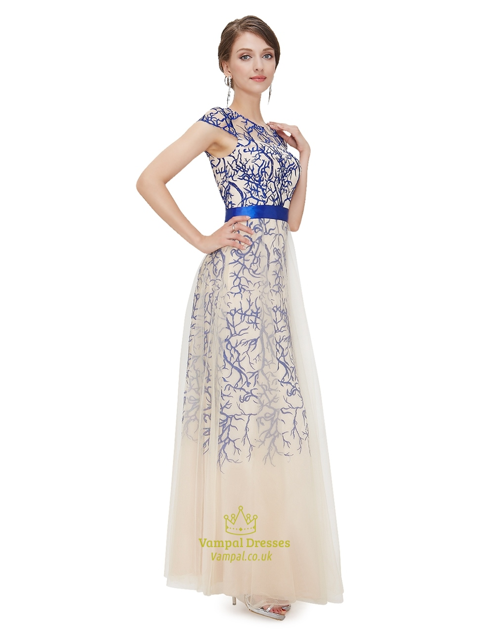 Champagne Cap Sleeves Tulle Prom Dress With Embroidered