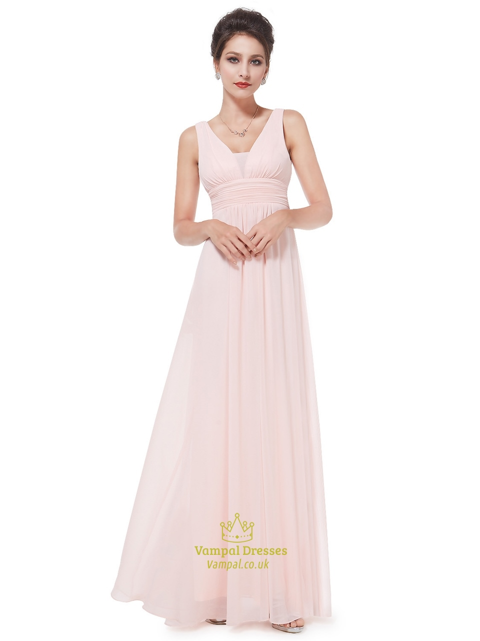 Peach v neck chiffon long bridesmaid dresses for beach for Chiffon wedding dresses for beach wedding
