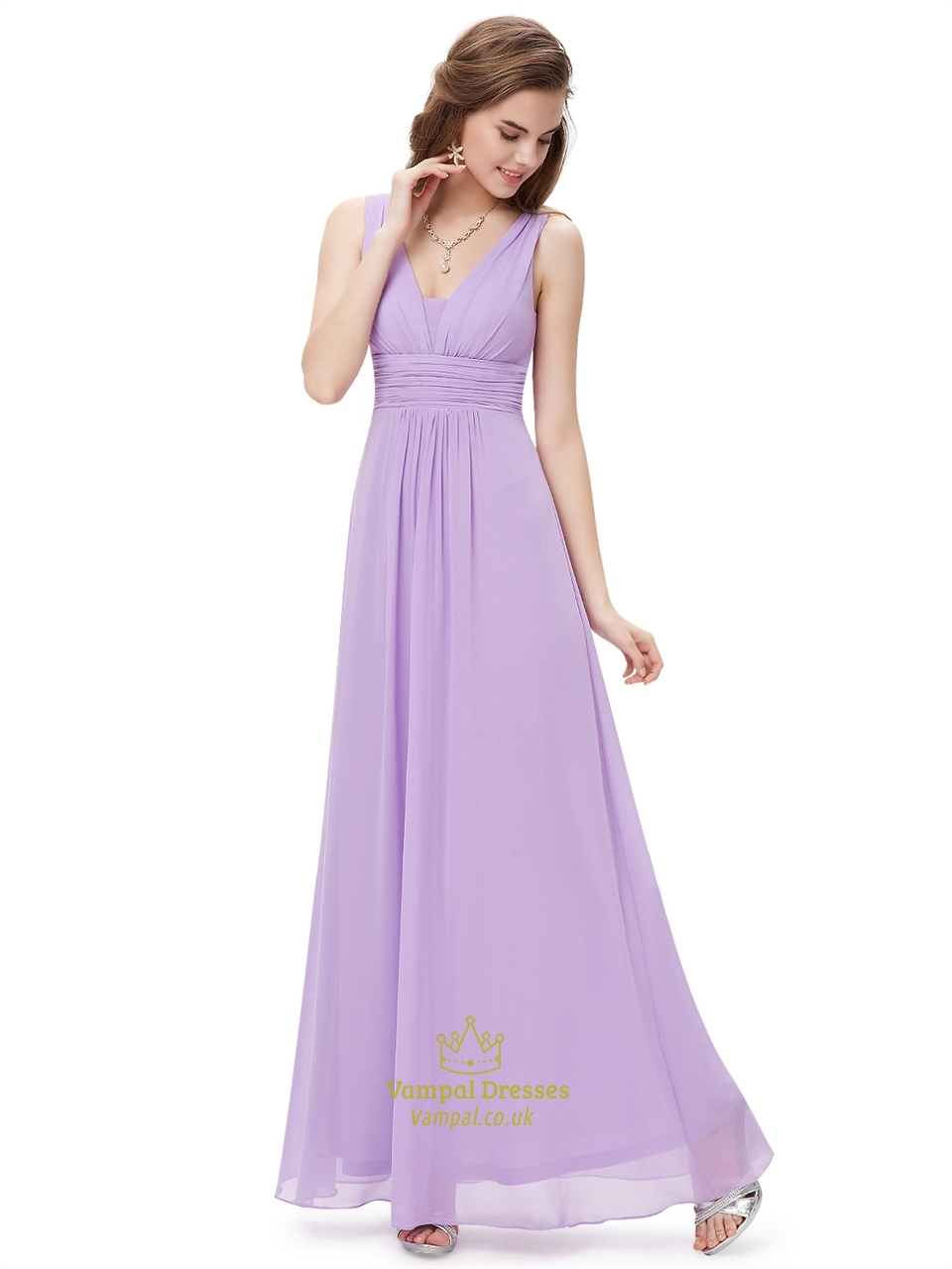 Peach V Neck Chiffon Long Bridesmaid Dresses For Beach Wedding ...