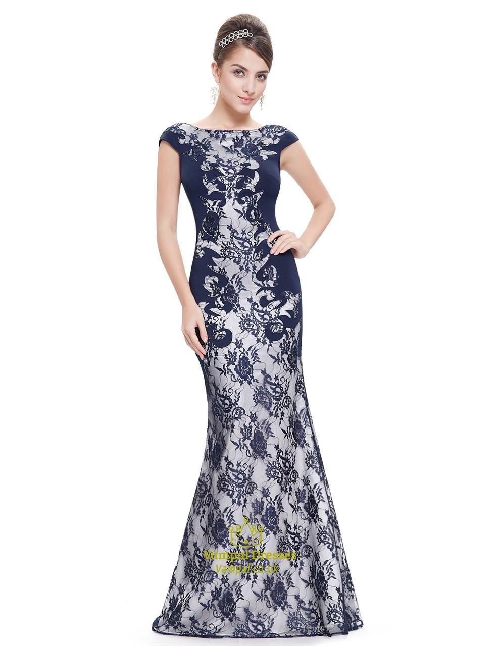 3195b54e1b Elegant Navy Blue Mermaid Lace Prom Dress With Cap Sleeves SKU -NW1584