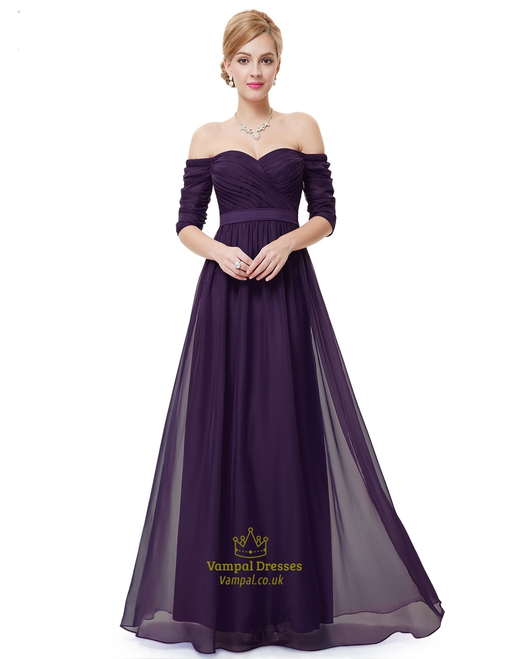 698cb7c98734 Purple Off The Shoulder Half Sleeves A-Line Chiffon Formal Dress ...