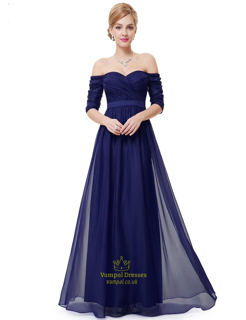 611fdef94cf1 Purple Off The Shoulder Half Sleeves A-Line Chiffon Formal Dress ...