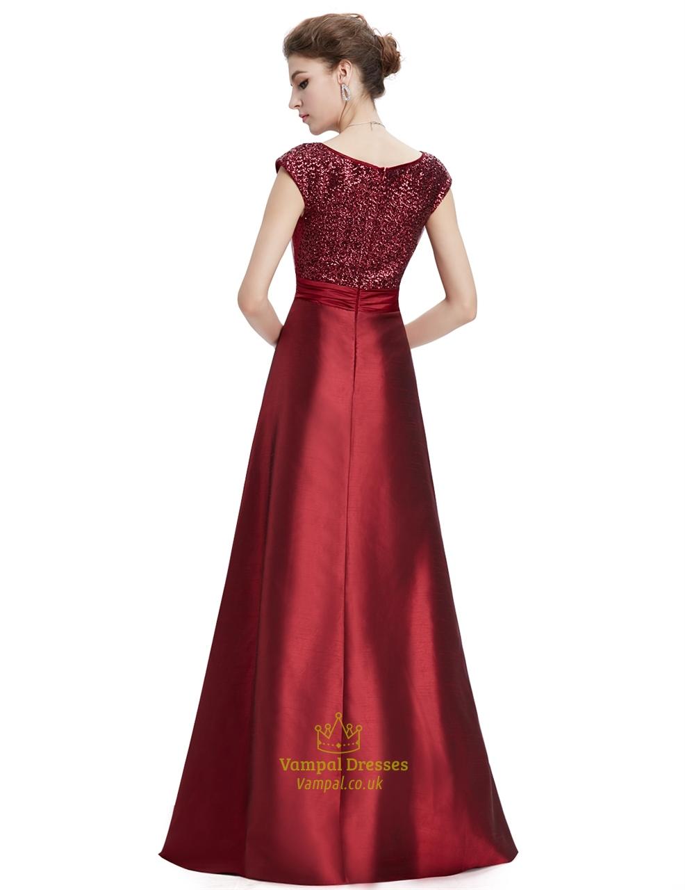 Burgundy V Neck Cap Sleeves Floor Length Prom Dresses With