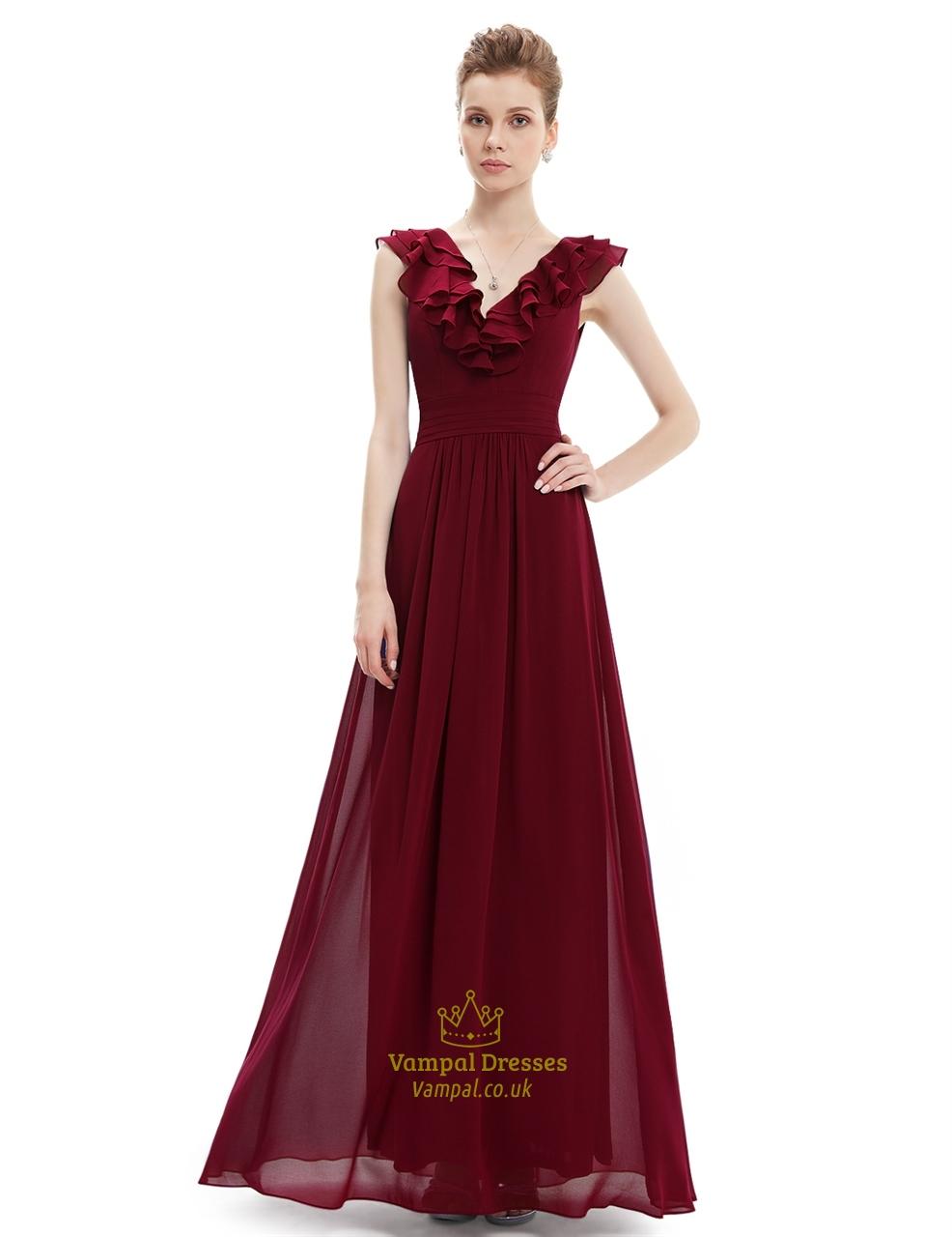 Purple a line v neck chiffon bridesmaid dress with ruffle collar purple a line v neck chiffon bridesmaid dress with ruffle collar ombrellifo Gallery