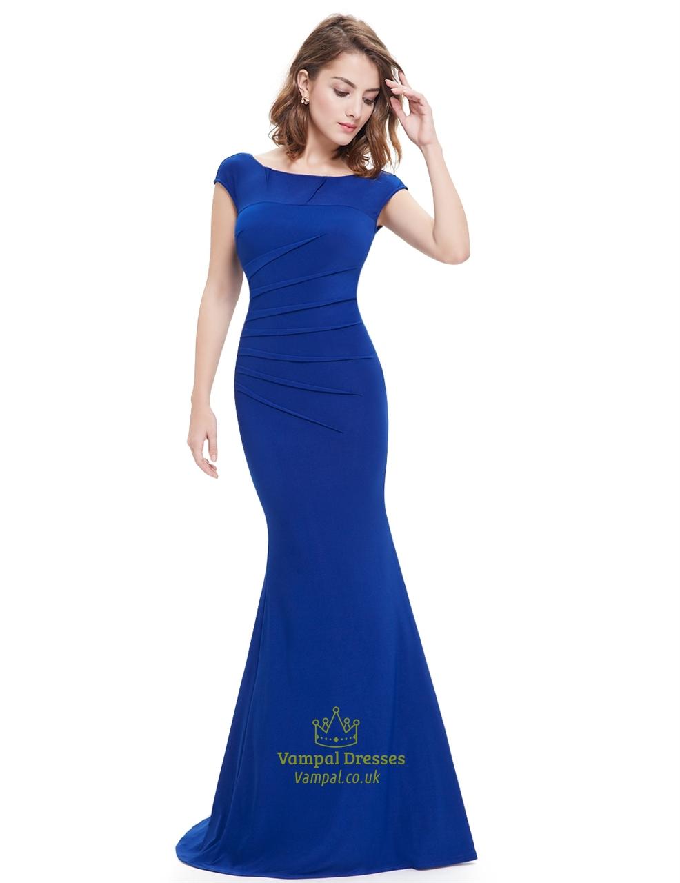 Elegant Royal Blue Cap Sleeves Mermaid Prom Dress With Open Back ...