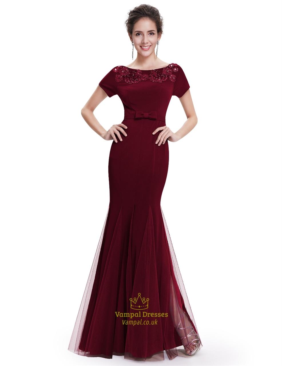 burgundy mermaid tulle skirt short sleeve prom dress with