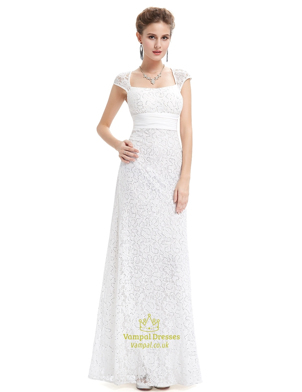 Ivory Lace Sheath Wedding Dress With Cap Sleeves And Open Back ...