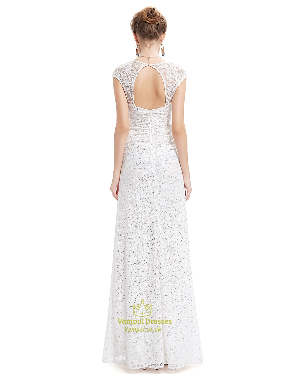 Ivory lace sheath wedding dress with cap sleeves and open for Ivory lace wedding dresses