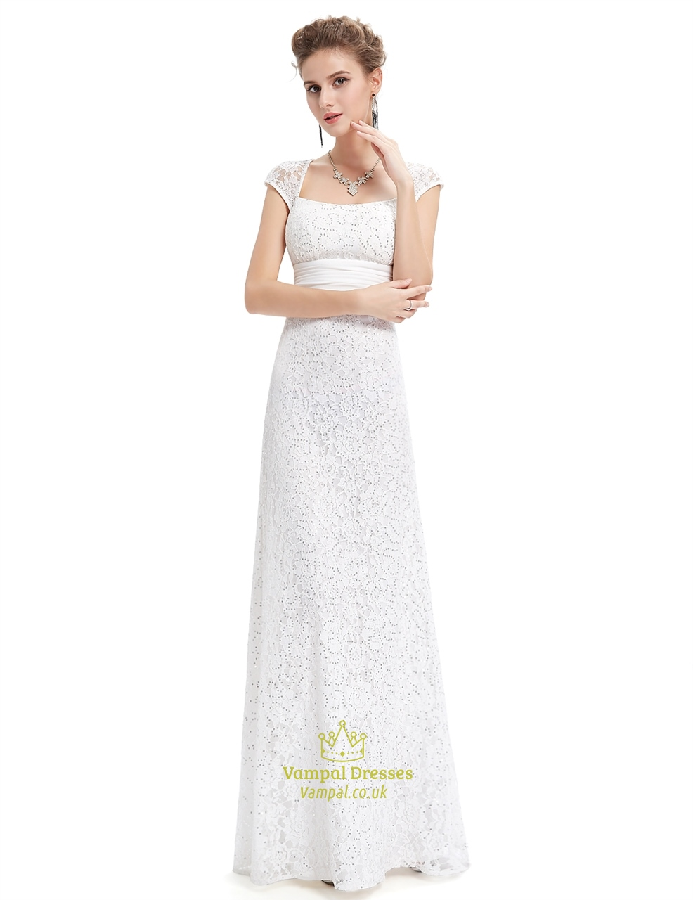 Ivory lace sheath wedding dress with cap sleeves and open for Wedding dresses with sleeves uk