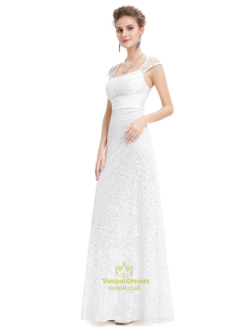 Ivory lace sheath wedding dress with cap sleeves and open for Ivory lace wedding dress with sleeves
