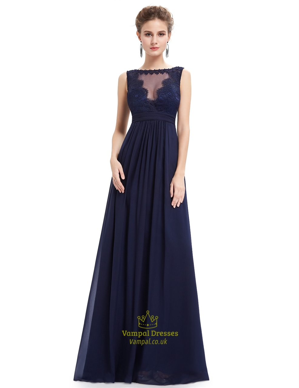Chiffon Gown With Beaded Lace Applique | Vampal Dresses