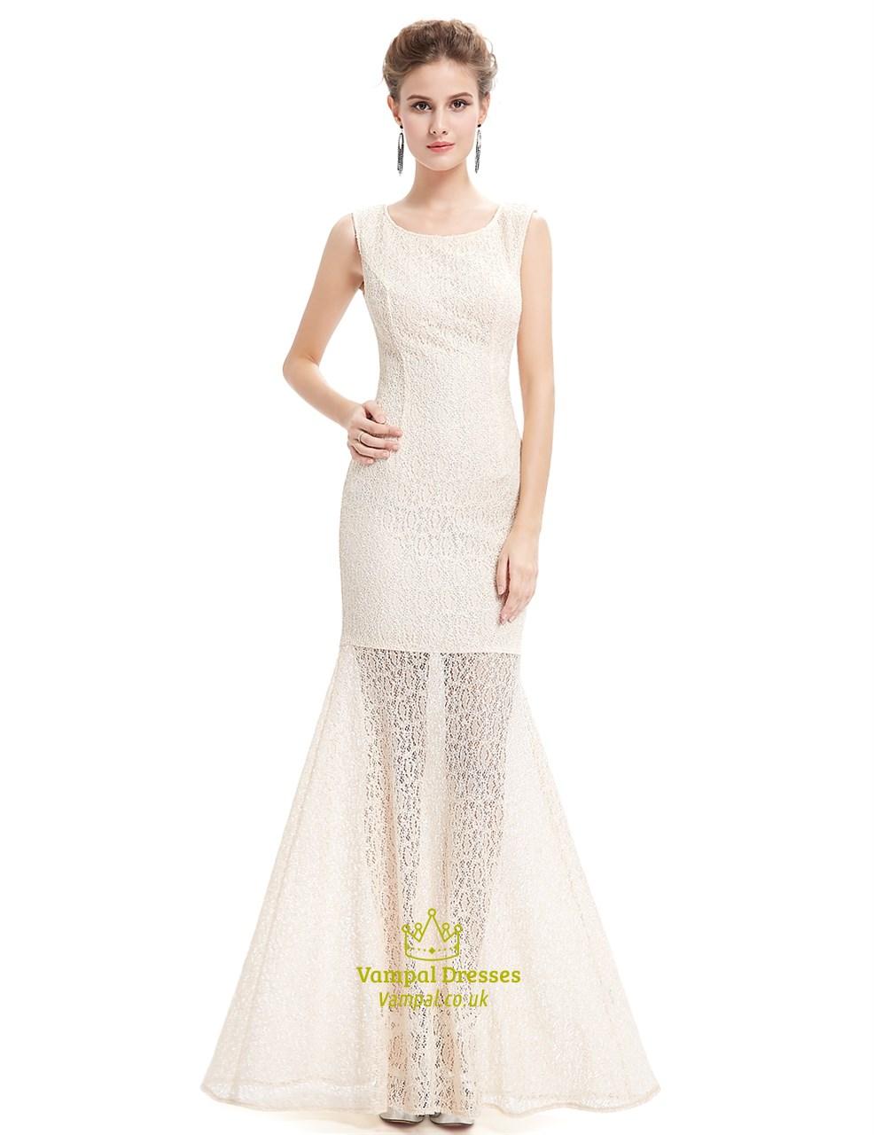 ec2b9120d94 Elegant Chagne Sheath Lace Prom Dress With Sheer Illusion Skirt Sku Nw1607